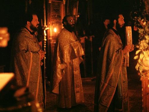 Fr Alexander Atty serving the Divine Liturgy at St Anne's Skete, Mount Athos, 1988.