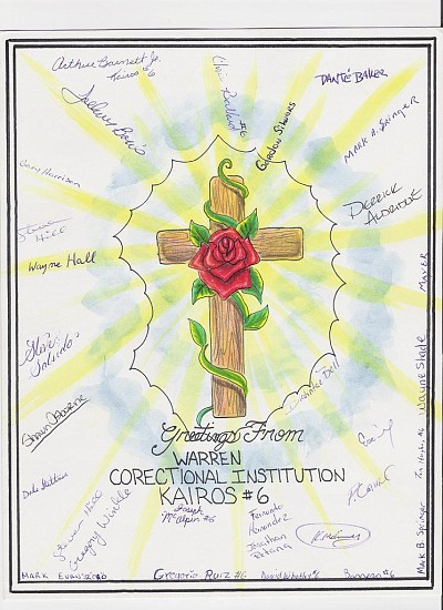 One of the many KAIROS 'Thank You' cards the prisoners have sent us over the years.