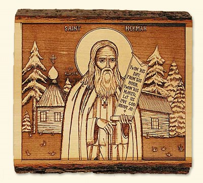Woodcut Icon of St Herman with his famous 'word'.