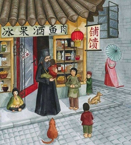 Painting of St John caring for his orphans in Shanghai