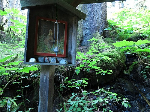 Icon at St Herman's Spring, Spruce Island, Alaska