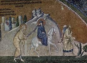 Journey to Bethlehem, 11th c. Mosaic, Constantinople