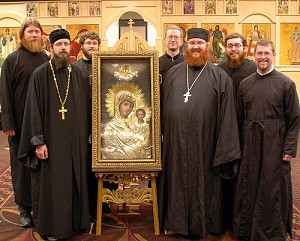 Abbott Sergius and Brothers with the Sitka Icon of the Mother of God